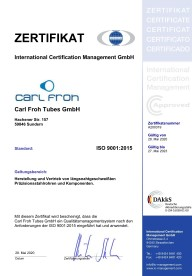Carl Froh Tubes Zertifikat ISO9001